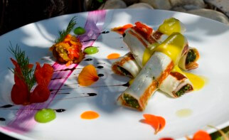 Cottage Cheese Cannelloni With Saffron and Tomato Ragout