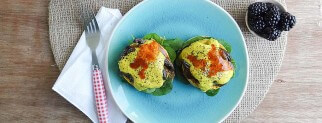 Vegan Eggs Benedict with Portabella Bacon