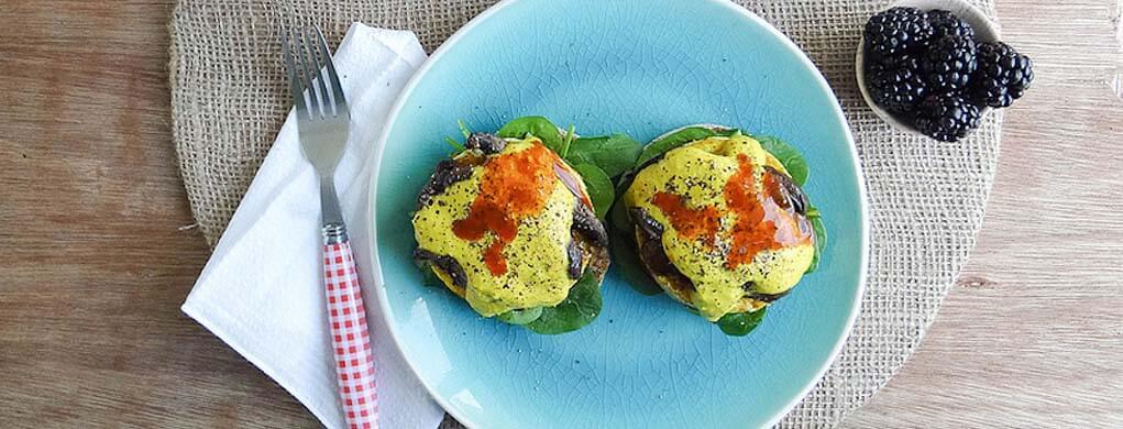Vegan Eggs Benedict with Portabella Bacon