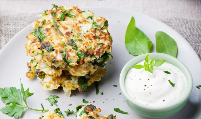 Zucchini Fritters with Tomato & Feta Relish